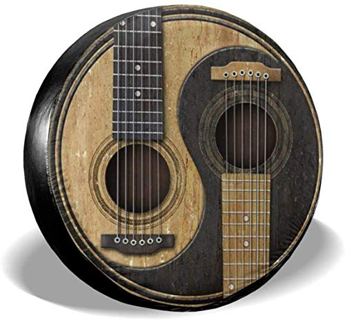 MODORSAN Guitarras acústicas Yin Yang Cubierta de neumático de Rueda de Repuesto Cubiertas de Rueda universales de poliéster para Jeep Trailer RV SUV Accesorios de camión, 16 Pulgadas