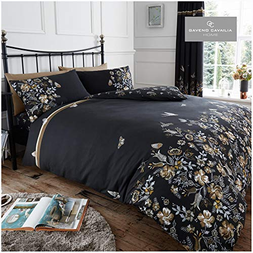 Gaveno Cavailia Maria Floral Printed Duvet Cover & Pillowcases, Luxury Soft & Cosy Quilt Set Reversible Bedding, Double size, Black/Natural