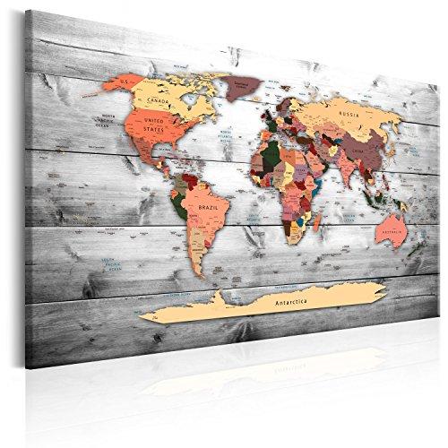 murando Prikbord Wereldkaart 120x80 cm Kurk Boord & Canvas Afdruk op Niet-geweven Materiaal Memobord Prikbord Afbeelding Foto Schilderen Home Decor Muurkaart kaart continenten k-B-0009-p-c