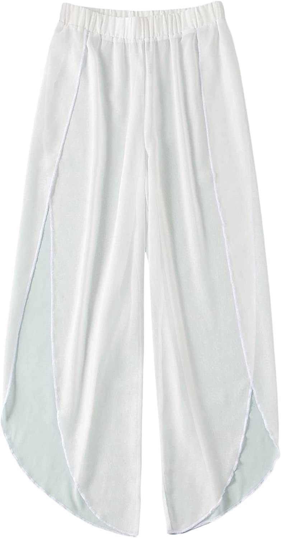 SOLY HUX Women's Elastic Waist Wide Leg Sheer Beach Swimwear Cover Up Pants