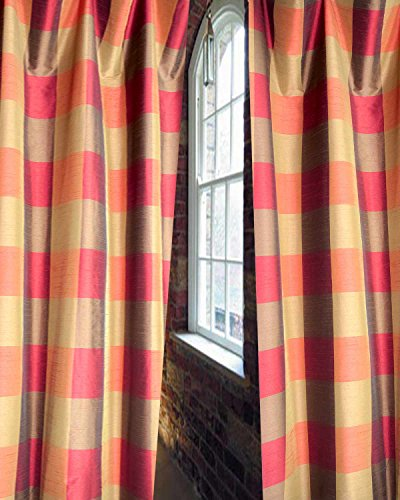 """Red & Olive Green Buffalo Checks Faux Silk Lined Rod Pocketed Window Treatement Curtain Panel (52""""W X 108""""L)"""