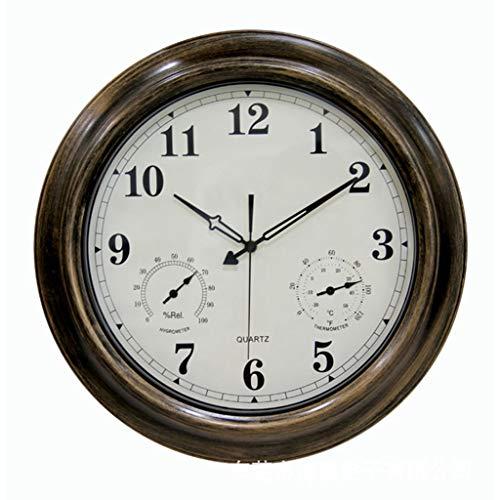 TOYS Wanduhr Outdoor-Wanduhr 45 cm wasserdichte Gartenuhr Mit Thermometer Und Hygrometer Vintage-Outdoor-Uhr Für Garten, Zaun, Terrasse Wohnzimmer, Schlafzimmer