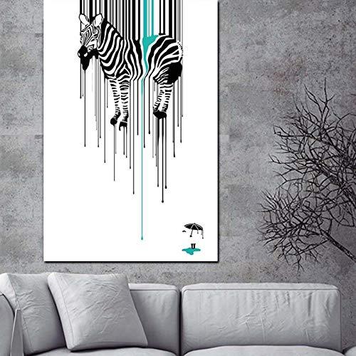 HD Print Abstract Zebra Design Abstraktes Ölgemälde auf Leinwand Poster Modernes Wandbild oder Wohnzimmer Sofa Cuadros Dekorativ 60x90 CM (Kein Rahmen)