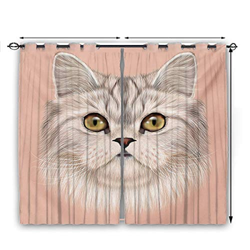 nooweihome Cat Curtains for bedroo Cute Kitty Portrait Whiskers Best Pet Animal I Love My Feline Themed Artwork FadeResistantPolyesterMicrofiber W63 x L45 Beige Cream Peach