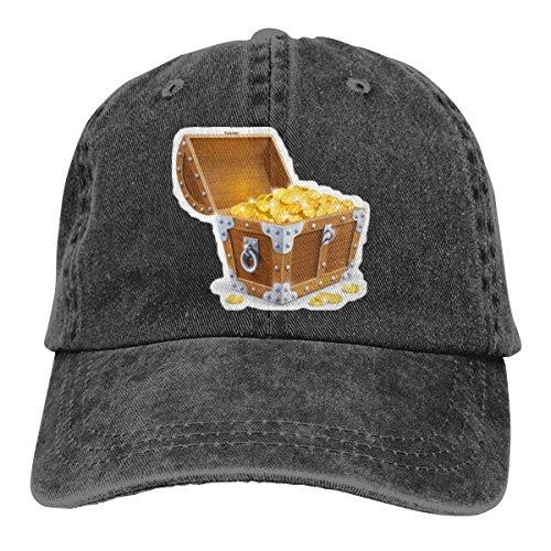 Baúl de madera vintage con gorra de béisbol de oro con gorra...