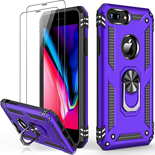 iPhone 8 Plus Case,iPhone 7 Plus Case with Glass Screen Protector,Military Grade 16ft. Drop Tested Protective Phone Case with Magnetic Car Mount Kickstand for iPhone 7 Plus/iPhone 8 Plus Purple