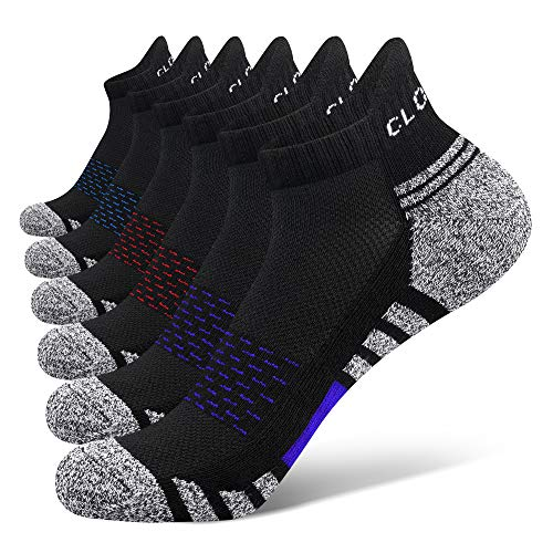 6 Pairs Ankle Athletic Running Trainer Socks for Men Ladies Women Low Cut Wicking Sport Cushion Tab Mens Socks (2Red2Blue2Purple, 9-12)