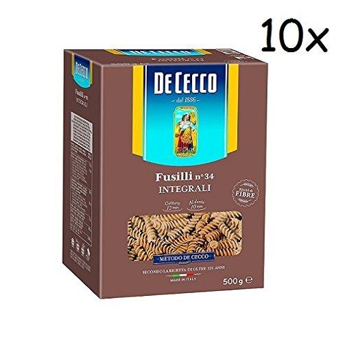 10x Pasta De Cecco Fusilli integrali n. 34 Vollkorn italienisch Nudeln 500 g