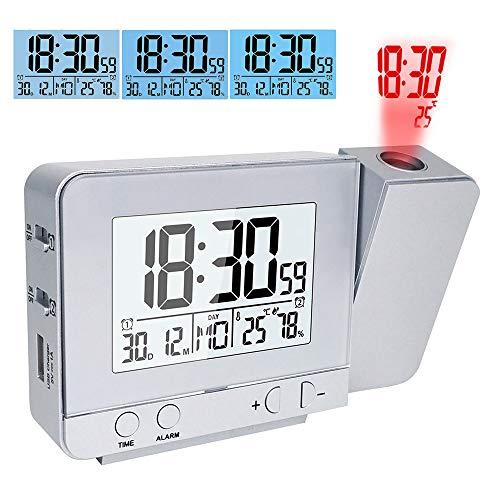 TopHGC Projektionswecker, Doppelalarm mit USB Ladeanschluss 12/24 Stunden Innentemperatur Datum Zeitanzeige mit Einstellbarer Hintergrundbeleuchtung (Silber)