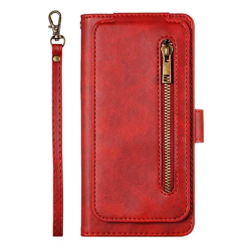 Uposao Kompatibel mit Huawei P Smart 2019 Hülle Reißverschluss Leder Flip Schutzhülle 9 Kartenfächer Handyhülle Multifunktionale Brieftasche Geldbörse Handytasche Magnetverschluss,Rot