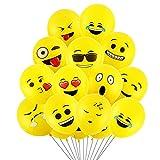 Globos de fiesta, 12 pulgadas 50 piezas Globos de látex emoji con 12 diferentes emojis divertidos para fiesta, boda, cumpleaños, decoración del festival