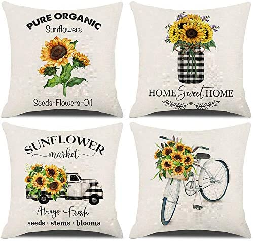 Fashionable KACOPOL Sunflower Pillow Covers Set Rustic 4 Vintag 40% OFF Cheap Sale of Farmhouse