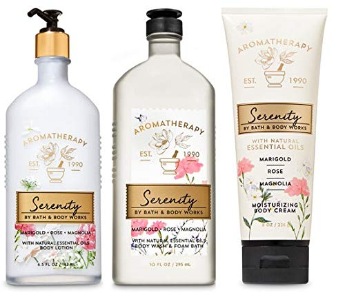 Bath and Body Works Aromatherapy Serenity MARIGOLD ROSE MAGNOLIA Trio Gift Set - Body Lotion 6.5 oz, Shower Gel Foam Bath 10 oz and Body Cream 8 oz