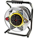 KEL-ELECTRIC - Avvolgicavo in metallo con cavo in gomma da 30 m, 3 x 1,5 mm2, 230 V/16 A, cavo di prolunga con 4 contatti di protezione, presa IP44