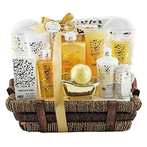 Caja de regalo de belleza y cuidado corporal - Cesta de mimbre con su conjunto de viaje - Gold Collection - Argan Oil