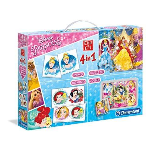 Clementoni - 13256 - Edukit 4 in 1 - Disney Princess - set di giochi (memo, domino, cubi, puzzle 30 pezzi) - gioco educativo 3 anni, gioco memory, puzzle bambini - Made in Italy