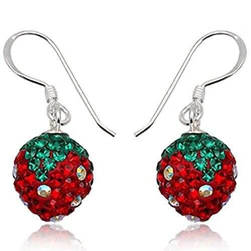 EYS JEWELRY Damen-Ohrhänger Erdbeeren 925 Sterling Silber Preciosa Elements Glitzer Kristalle 29 x 10 mm rot grün Ohrringe