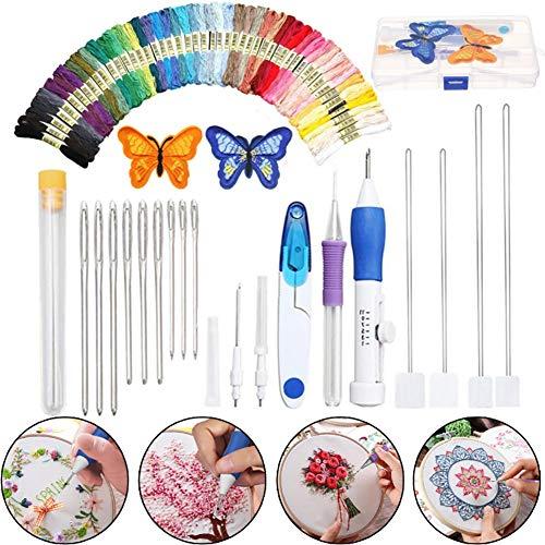 Juego de bolígrafos de bordado mágico, kit de herramientas para bordar, incluye 50 hilos de colores para hacer manualidades, bordado, punto de cruz y herramienta de costura multicolor