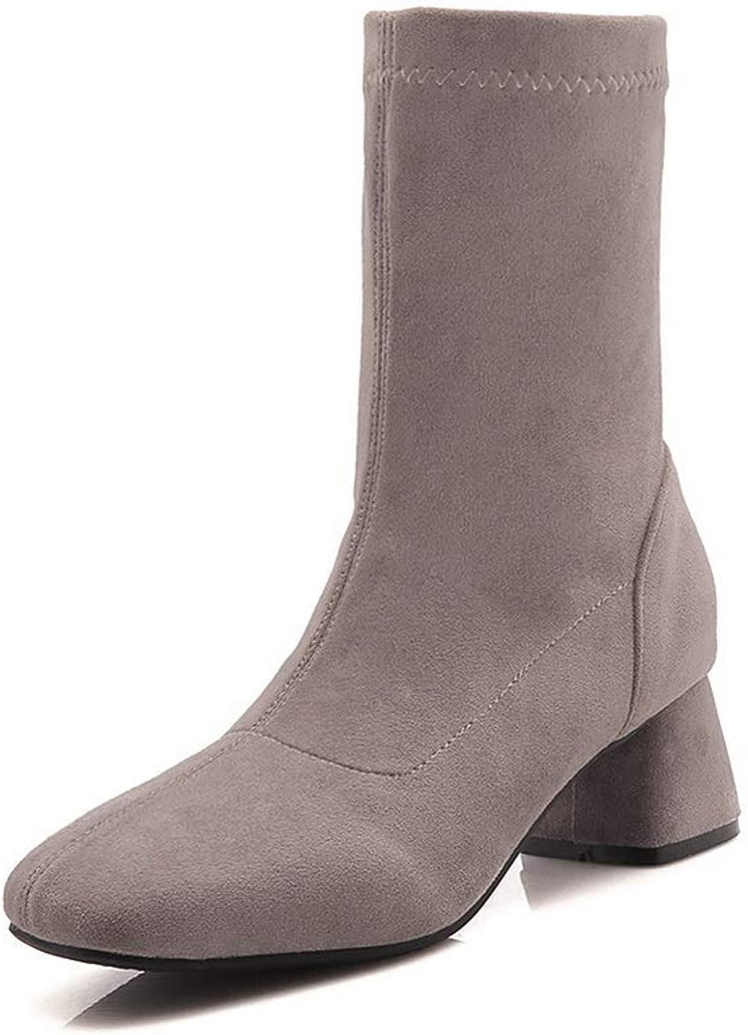 AN Womens Square Heels Fabric Boots DKU02414