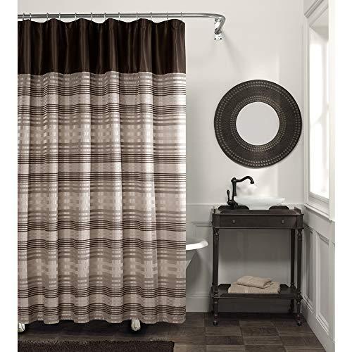 MAYTEX Blake Chenille Striped Fabric Shower Curtain, Brown Multi