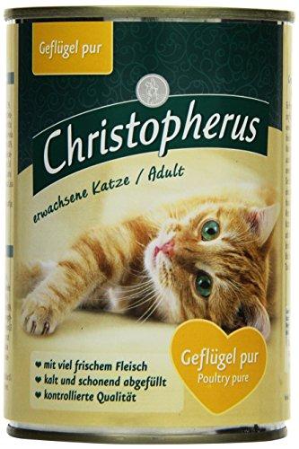Christopherus Alleinfutter für Katzen, Nassfutter, erwachsene Katze, Geflügel Pur, 6 x 400 g Dose