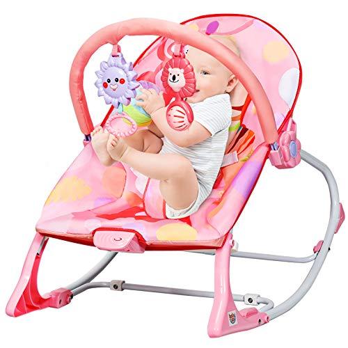 GOPLUS Sedia a Dondolo per Bambini, Culla a Dondolo Elettrica, con Giocattoli Carini,Angolo dello Schienale Regolabile, con Modalità di Vibrazione,77x48x63 cm (Rosa)