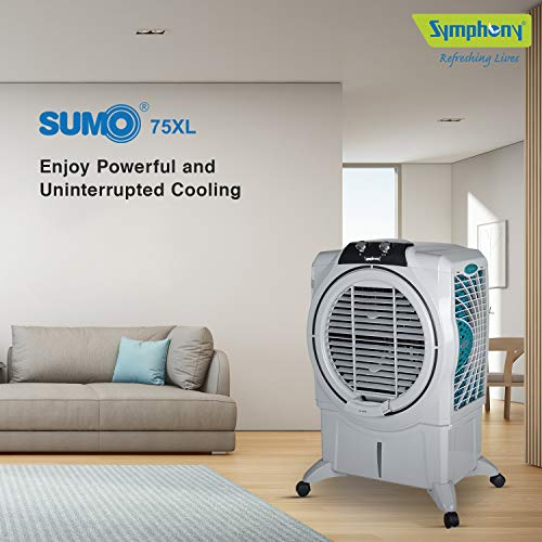 Symphony Sumo 75 XL Powerful Desert Air Cooler 75-litres, Air Fan, Easy-Fill, 3-Side Honeycomb Pads, i-Pure Console (Grey)