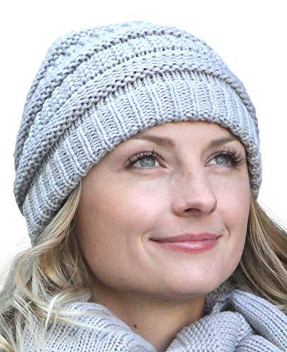 Hilltop Stel je wintercombiset samen: loopsjaal, bijpassende gebreide muts en bijpassende handschoenen, beanie wintermuts voor dames, in trendy kleuren, cadeau voor vrouwen.