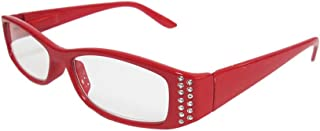 Beyond Optics Clarity Fashion Reader Reading Glasses, Red with Rhinestone Accents, Magnify +1.50