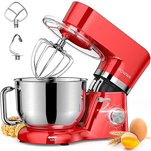 Küchenmaschine, POWWA 6,2 L Elektromixer, 6+1 Geschwindigkeit 1500W Kippkopf-Küchenmixer mit Schneebesen, Knethaken, Rührbesen & Spritzschutz zum Backen, Kuchen, Kekse, Kneten, ETL-zertifiziert