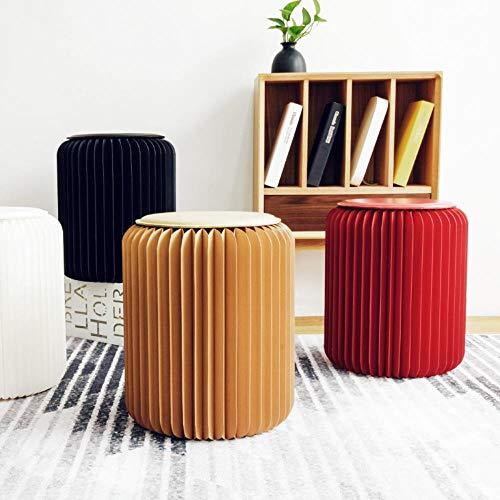 Miner Opvouwbare kruk Creatieve papieren kruk Draagbare Scandinavische meubels Persoonlijkheid Onderscheidende ronde stoel, wit