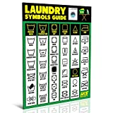 """Laundry Symbols Guide Magnet - Extra Large Easy to Read 8.5"""" x 11"""" Clothing Care Instruction Cheat Sheet – Washing, Drying, Ironing & Bleaching Accessory - Functional Modern Laundry Room Art Decor"""