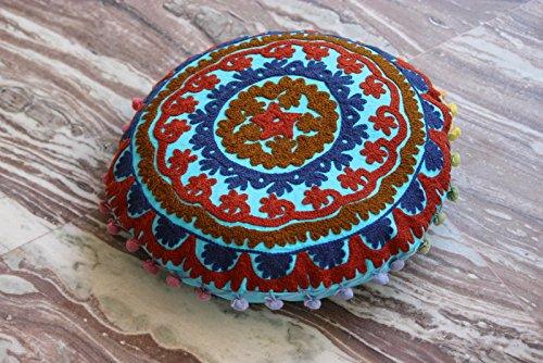 HANDICRAFTOFPINKCITY Cotton Suzani Cushion Cover Handmade Mandala Desing Round Pouf Cover 16'' Throw Vintage Pillow Case by HANDICRAFTOFPINKCITY