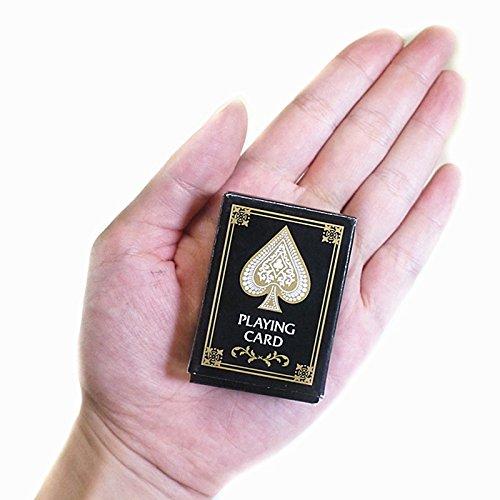 Asdomo 1 Lot de Mini Cartes de Poker, Cartes de Jeu de Poker Texas Hold'em Papier Jeu de Voyage Kits fête Jeu, Noir