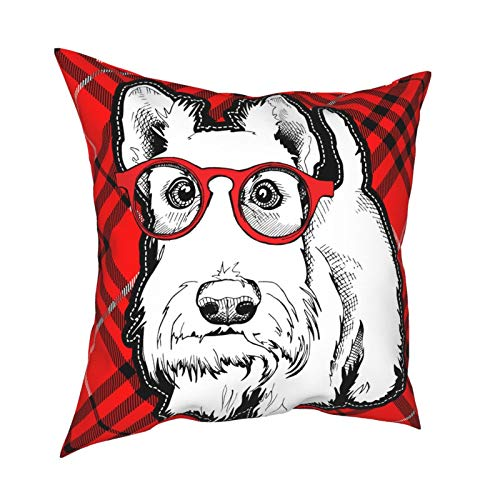 18x18 Throw Pillow Covers Set of 4 Scottish Terrier Dog Decorative Couch Pillow Cases Cushion Cover Sofa Soft Standard Zippered Square Printed Pillowcase for Kids Women Men