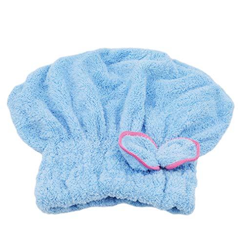 Hengsong Bonnet pour Cheveux Secs Bonnet de Douche en Microfibre Serviette pour Cheveux à Séchage Rapide (Bleu)