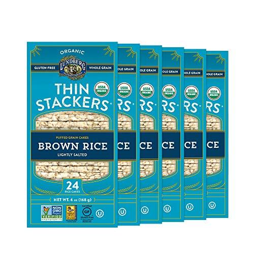 Lundberg Organic Thin Stackers Gluten-Free, Vegan, Non-GMO Verified, Kosher, Whole Grain Brown Rice Lightly Salted, 36 Ounce