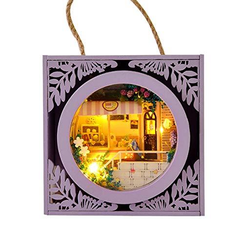 Easy-Topbuy Holz DIY Miniaturhaus mit LED-Lampe Garden Box Modellbausatz, Creative Garden Cottage DIY Ornamente Weihnachtsgeburtstagsgeschenk für Liebhaber, Familie, Kinder, Freunde
