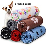 Comsmart Warm Paw Print Blanket/Bed Cover for Dogs and Cats,6 Pack of 39x31 Inches