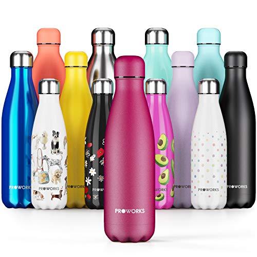 Proworks Botellas de Agua Deportiva de Acero Inoxidable | Cantimplora Termo con Doble Aislamiento para 12 Horas de Bebida Caliente y 24 Horas de Bebida Fría - Libre de BPA - 500ml – UVA Orgánica