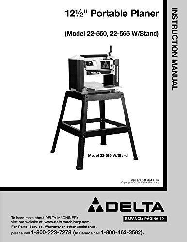 """Delta 22-560 22-565 12 1/2"""" Portable Planer Instruction Manual [Plastic Comb]..."""
