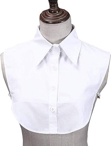 Juland Collar Falso de Dama Blusa Media Camisa Cuello Falso Desmontable Camisa OL Joker Collar Decorativo Collar Dickey Corbata De Algodón con Puño ...