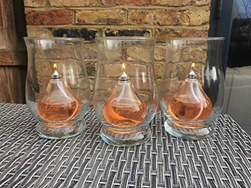 CLEARCRAFT 3 x INDOOR, OUTDOOR OR GARDEN OIL LAMP CANDLES FOR USE WITH SMOKELESS,ODOURLESS LAMP OIL PERFECT LIGHTS FOR BARBECUES (Teardrop)