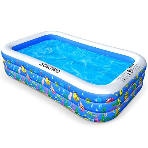"AOKIWO Family Swimming Pool, 121"" X 71"" X 21"" Full-Sized Inflatable Lounge Pool Kiddie Pool for Kids, Adults, Infant, Garden, Backyard, Outdoor Swim Center Water Party"