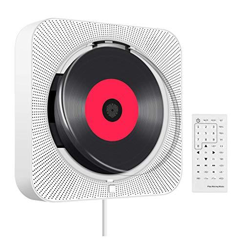 Reproductor de CD/DVD con Bluetooth, Reproductor de CD/DVD con Mando a Distancia HiFi Compatible con Radio FM, Tarjeta SD, Conector AV de 3,5 mm para Auriculares y Pantalla LCD.