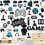 Clabby 49 Pieces Gamer Wall Stickers Gaming Wall Decals Game Controller Wall Stickers Video Game Decals Removable DIY Game Wallpapers for Playroom Bedroom Living Room Decorations