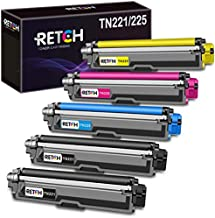 RETCH TN221 TN225 Compatible Toner Cartridge Replacement for Brother MFC-9130CW HL-3170CDW HL-3180CDW MFC-9330CDW MFC-9340CDW MFC-9342CDW Printer (2 Black | 1 Cyan | 1 Yellow | 1 Magenta) 5 Pack