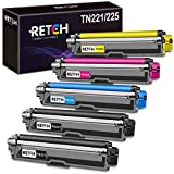 RETCH Compatible Toner Cartridge Replacement for Brother TN221 TN225 TN-221 TN-225, Used with MFC-9130CW HL-3170CDW HL-3180CDW MFC-9330CDW MFC-9340CDW Printer(2 Black|1 Cyan|1 Yellow|1 Magenta) 5 Pack