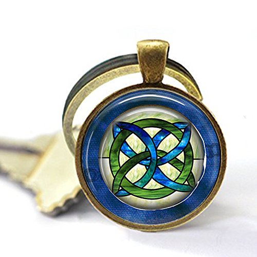 lukuhan Celtic Wedding Jewelry - Stained Glass Green Blues Celtic Knot - Celtic Knot Pendant - Irish Jewellery - Celtic Bridal Jewelry Keychain