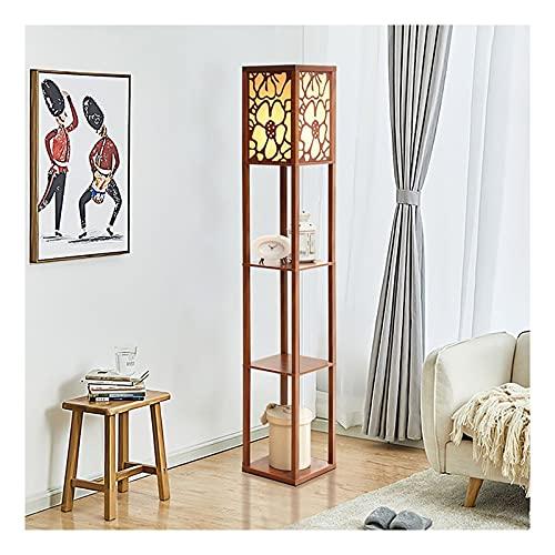 Indoor Vloerlamp met planken – plank LED-vloerlampen door echt massief hout met stof lampenkap voor woonkamer…